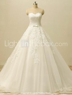 A-line Wedding Dress-Ivory Court Train Sweetheart Lace / Tulle 2016 - €186.19