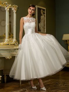 Lan Ting A-line/Princess Plus Sizes Wedding Dress - Ivory Ankle-length Jewel Tulle - USD $ 79.99