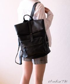 Square Shape Leather Backpack  Black by studio731 on Etsy, $150.00