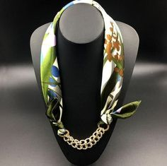 Elegant Fashion Silk Silver-Gold-Plated Jewel-Accent Pendant Designer Scarf 17 Colors