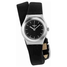 Swatch Irony Lady Black Russian Black Dial Leather Ladies Watch ($60) ❤ liked on Polyvore featuring jewelry, watches, dress watches, leather wrist watch, analog wrist watch, dress watch and leather wrap watches