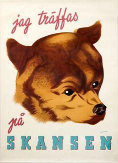 A SWEDISH POSTER. Lot 151-6224 #poster #bear