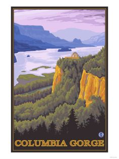 Columbia River Gorge Scene with Crown Point Premium Poster