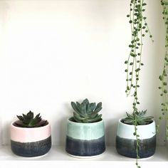 gorgeous pots for your succulents - another simple way to spruce up your kitchen - and hand made in England too...