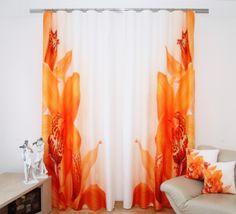 Pomarańczowe kwiaty zasłony 3D białe