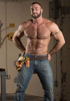 Gay Adult Film Star Hunk Spencer Reed as a workman shirtless in bluejeans