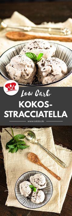 Leckeres und schnell gemachtes Low Carb Kokos-Stracciatella Eis mit Limette ganz ohne Zucker. So schmeckt Sommer ohne Reue. Das Rezept geht mit und ohne Eismaschine und ergibt bis zu 7 erfrischend zuckerfreie Low Carb Eiskugeln. #LowCarbEis #StracciatellaOhneZucker #ZuckerfreiesEis #LowCarbStracciatellaEis #Kokoseis #EisSelberMachen Low Carb Recipes, Bread, Food, Fair Trade Chocolate, Low Carb, Brot, Essen, Baking, Meals