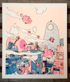 boysfantasy: peowstudio: Patrick Crotty's picture for Think of a City, in postcard form. Blue and fluo pink It's me