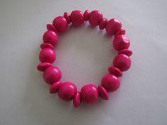 Wood beads bracelet - Pink :)