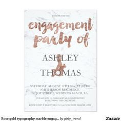 Rose gold typography marble engagement party 2