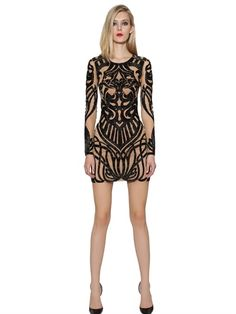 ZUHAIR MURAD - DRAGON TATTOO EFFECT TULLE DRESS - LUISAVIAROMA - LUXURY SHOPPING WORLDWIDE SHIPPING - FLORENCE