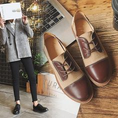 3e0a6157531 PHYANIC 2018 British Women Flats Mixed Color PU Leather Square Block Heel  Casual Oxfords Spring Autumn Vintage Ladies Brogues