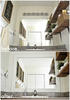 "Framing your bathroom mirror will make it ""sit"" nicely with the rest of your decor."