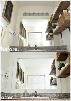 Votre miroir de salle de bain se fondra joliment au reste de la décoration si vous l'encadrez.