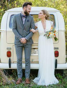 This #wedding dress is so elegant! From http://greenweddingshoes.com/mid-century-wedding-inspiration/  Photo Credit: http://saraandrocky.com/  Dress by http://bhldn.com