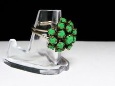 New Listings Daily - Follow Us for UpDates - Spring Cleaning Sale! Green Cluster Ring - Faceted Glass Rhinestones - Rhinestone Dinner Ring - #Vintage 1950's Mid Century Modern Design offered by #TheJewelSeeker on Etsy  ... #vintage #jewelry #teamlove #etsyretwt #ecochic #thejewelseeker