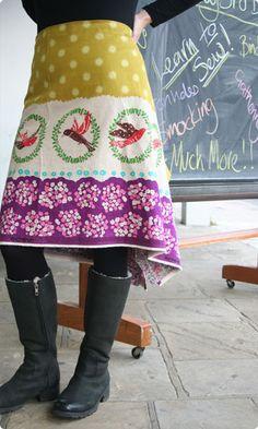 Bustle skirt kit - Chartreuse 'Flap' Echino and Liberty print fabrics