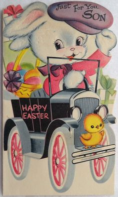 Cute vintage Easter card, bunny & chick