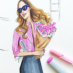Wednesday we wear pink! Fashion illustration by Houston fashion illustrator…