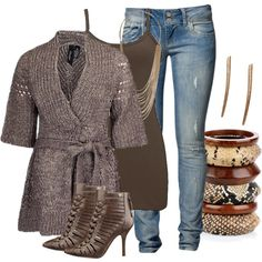 """Pointelle Cardigan"" by hope-houston on Polyvore"