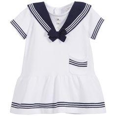 Baby Girls White Knitted Cotton Sailor Dress, Sarah Louise, Girl