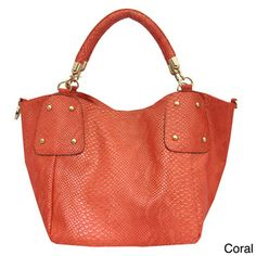 Women's 'YK1013' Snake Material Tote Handbag | Overstock.com Shopping - The Best Deals on Tote Bags