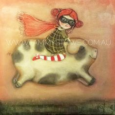 Girl Riding on Pig Art Original Art Print by TammyStoweArt on Etsy #print #animals #painting #art #fineart #pig #nursery #handmade