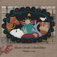 Christmas Nativity Table Mat Pattern felt applique manger scene in a penny rug style with baby Jesus, angel and animals by PlumCreekPatterns on Etsy https://www.etsy.com/listing/208919860/christmas-nativity-table-mat-pattern