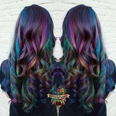 """""""Rainbow scratch art inspired hair #behindthechair #modernsalon #beautylaunchpad #hotonbeauty #americansalon #brazilianbondbuilder #b3…"""""""