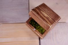 Engagement ring box with real moss wooden by WoodMetamorphosisUK