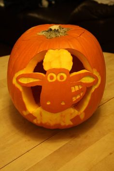 Shaun the Sheep pumpkin by seagullboy on Flickr.