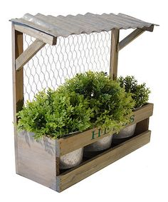 Love this Metal Top Wood Planter & Metal Pots by VIP International on #zulily! #zulilyfinds