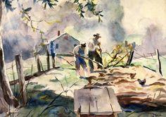 Andrew Wyeth 1917 - 2009 Tending To The Vegetable Garden 1948