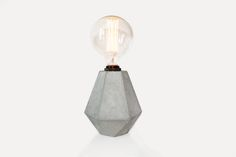 Rough Diamond Lamp in concrete by Edgy + Rocks