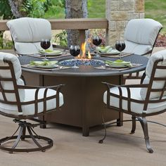 Woodard Hammered 48 in. Round Fire Pit Table - The generously proportioned Woodard Hammered 48 in. Round Fire Pit Table is a phenomenal space to enjoy meals, games, and good company. Round Fire Pit Table, Fire Table, Patio Table, Round Dining, Fire Pit Table And Chairs, Iron Furniture, Outdoor Furniture Sets, Deck Furniture, Outdoor Dining