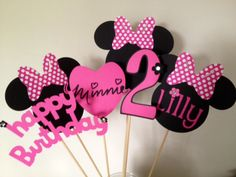 6 Piece Minnie Mouse Inspired Centerpiece pink white and black