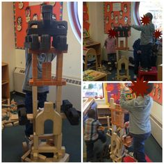 These kids worked together to build the tallest castle they could. When it got too tall for them to reach, they asked for a stool to stand on. The castle collapsed and was rebuilt. These kids worked as a group, cooperating and collaborating to create this beautiful castle.