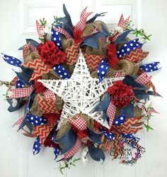 Mesh Burlap Patriotic Wreath -Fourth of July Decor -Rustic USA Fourth Of July Decor, 4th Of July Wreath, July 4th, Patriotic Wreath, Patriotic Decorations, Holiday Wreaths, Holiday Crafts, Holiday Ideas, Diy And Crafts Sewing
