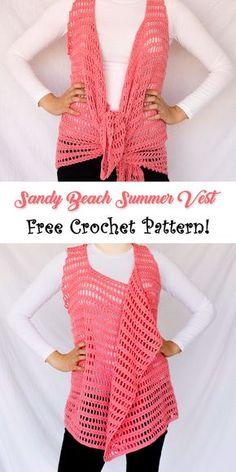 "The ""Sandy Beach Summer Vest"" is a multi-shape crochet ves. The ""Sandy Beach Summer Vest"" is a multi-shape crochet vest that you can now find for free. Crochet Vest Pattern, Crochet Coat, Crochet Shirt, Free Pattern, Crochet Patterns, Beach Crochet, Crochet 101, Crochet Yarn, Free Crochet"