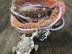 Wrap multi medium bracelet gypsy boho style Turtle Hasma hand   BeadingonaBudget - Jewelry on ArtFire