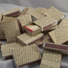 75 French Book Page Wrapped Matchbox Wedding Favors by ArtZodiac