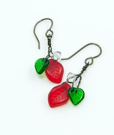 Red Green Christmas Dangle Earrings Red by CherylParrottJewelry