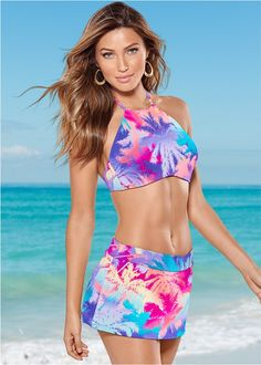 Front view High Neck Halter Bikini Top
