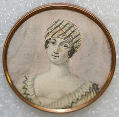Button, French glass covered wstercolor, c 1800