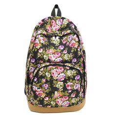 High Quality Vintage Retro Rose Floral Printing Backpack Women's Canvas Travel Backpack for Teenage Girls mochila Rucksack