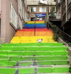 Rainbow stairs. Kabatas, Istanbul.