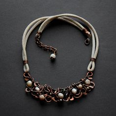 Freshwater pearls necklace Wire wrapped copper bib necklace