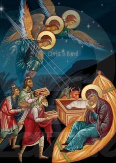 Nativity Scene - The visit of the Magi… Byzantine Icons, Byzantine Art, Religious Icons, Religious Art, Christmas Nativity, A Christmas Story, Greek Icons, Religion, Biblical Art