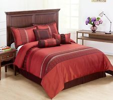 Indiologie 7pc Comforter Set, Red, Burgundy, Maroon CAL-KING Size Bed Cover $62.99+18.00 shipping