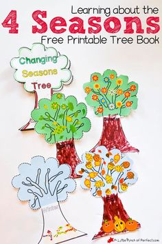 Learning About the 4 Seasons Cute Free Printable Tree Book--Spring, summer, fall, and winter activity for kids.
